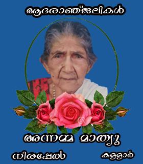 പരേതനായ നിരപ്പേല് മാത്യുവിന്റെ ഭാര്യ അന്നമ്മ (90) നിര്യാതയായി